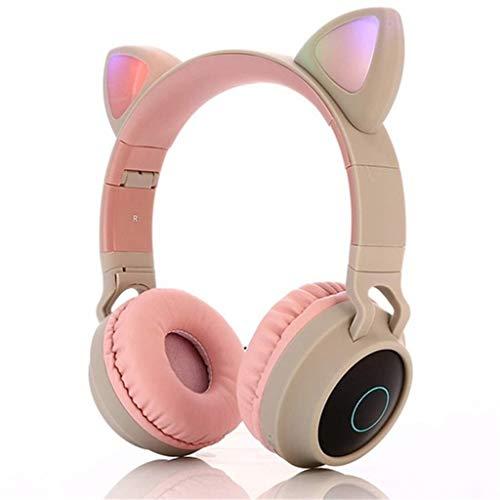 Auriculares Inalámbricos Bluetooth, Oreja De Gato Led Iluminados Auriculares Inalámbricos con Micrófono para Juegos (Color : Natural)