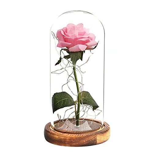 DDTT Flor preservada en cúpula de Vidrio, Rosa Artificial encantada con luz LED Navidad, Boda, día de San Valentín, día de la Madre,Rosado