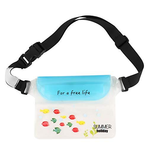 KAKAKE Bolsa Impermeable para Cintura Seca, Hebillas Material de PVC Bolsas Impermeables con Correa para la Cintura para Nadar y Hacer Rafting(Sky Blue)