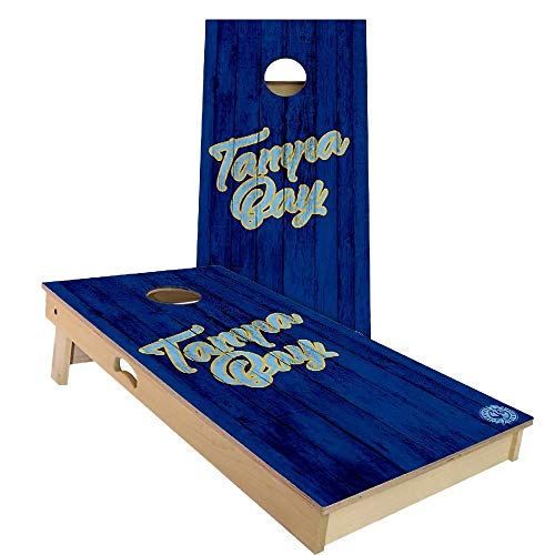 Skip's Garage Tampa Bay Vintage Themed Baseball Cornhole Board Set - Backyard 2x4 (24' by 48' Regulation Size) - Includes (2) Boards, (8) All Weather Bags and (1) Carrying Case