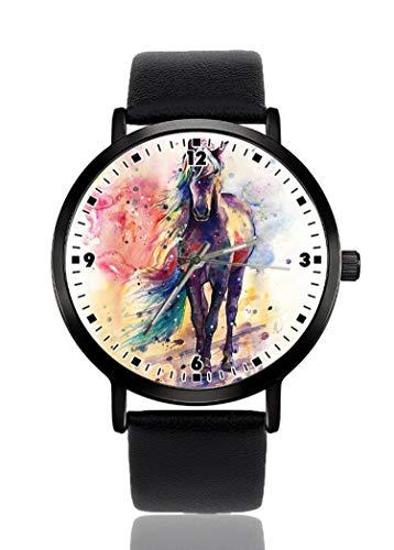 Reloj de pulsera de acuarela para hombres y mujeres, correa de piel,...