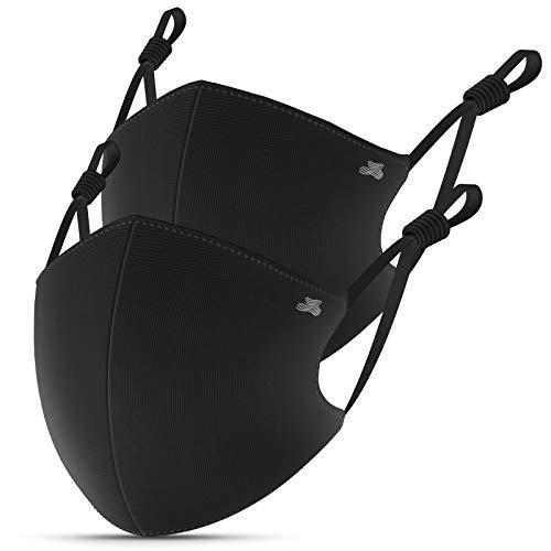 4-lagig Stoffmasken Mundschutz Maske mit Metallischen Nasenbügel, BFE 95% Baumwolle Mund und Nasen Schutzmaske Sportmaske Waschbar Wiederverwendbar Unisex Winter, Schwarz, 2 Stück