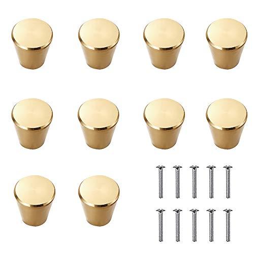 BUHO1991 - 10 pomelli in lega di alluminio dorato, per armadi e cassetti, in rame spazzolato, per armadi, porte, armadi, armadi, armadi e mobili da camera da letto