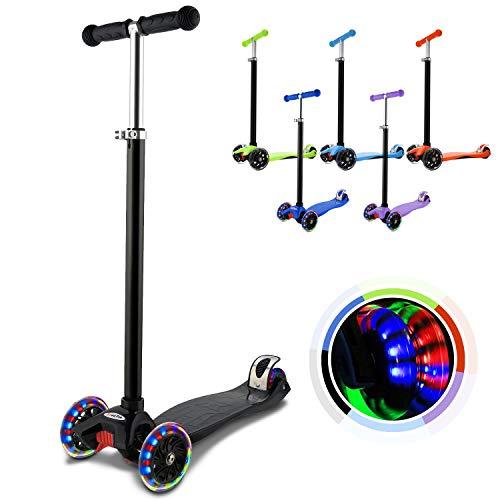 WeSkate Kinderscooter Kinderroller, höhenverstellbarer und Abnehmbarer Lenker Kick Roller Tret-Roller mit PU Rädern, mit 4-blinkenden Rädern, 2-Rädern Hinterbremsen (MG1/Schwarz)