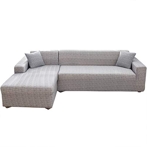 Jian Ya NA L-Form-Stretch Sofabezüge Polyester Spandex Stoff Slipcover 2ST Polyester-Gewebe Stretch Slipcovers + 2pcs Kissenbezüge für modernes Schnittsofa (Style 3)