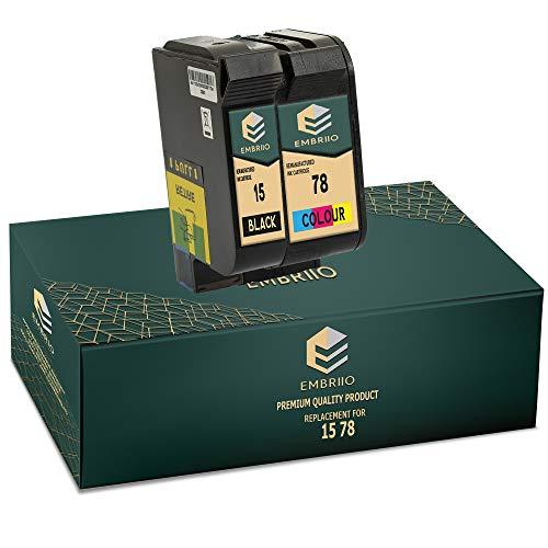 EMBRIIO 15 78 Cartuchos de Tinta Reemplazo para HP Deskjet 3810 3820 815c 916c 920c 940c 948c Officejet 5105 5110 V30 V40 V45 PSC 2120 700 720 750 760 900 950 Copier 310 Fax 1230