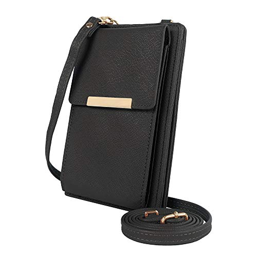 Deluxity Stylish Lightweight Small Crossbody Bag Cell Phone Purse Shoulder Bag Wallet with Card Holder for Women - Black