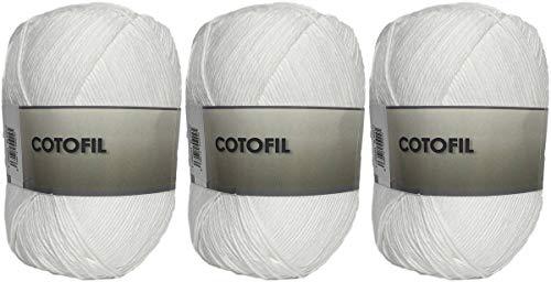 Hilo Ovillo de Cotofil 100% Algodón perfecto para DIY y tejer a mano (Color Blanco 100 g, aprox....