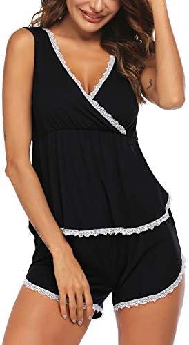 Ekouaer sleepwearWomens Pajama Set Sleeveless Sleepwear Set Lace Hem Tank and Shorts Pjs Nursing product image