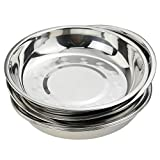 Nicesh 7.64 Inch Stainless Steel Round Plate, Dinner Plate Dish, Pack of 6...