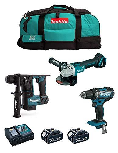 MAKITA Kit MK301 (Taladro Atornillador DDF482 + Martillo DHR171 + Mini-Amoladora DGA504 + 2 Baterías de 5,0 Ah + Cargador + LXT600)