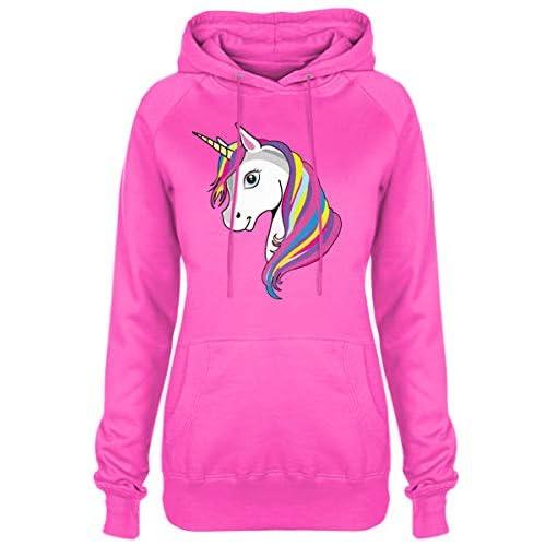 Ladies Rainbow Unicorn Girlie Hoodie Womens Horse Pink Hooded Sweater