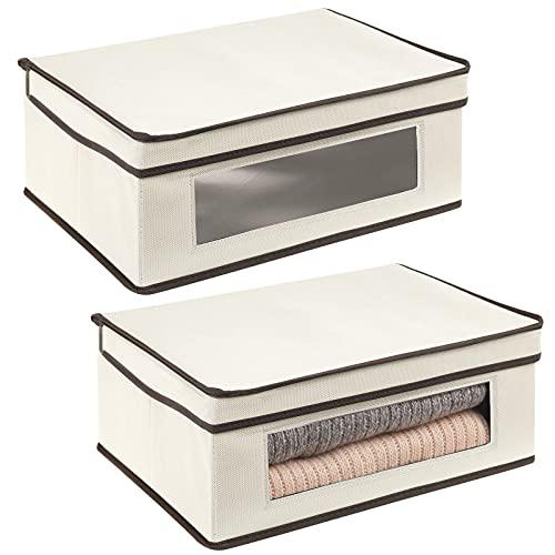 mDesign Set da 2 scatole portabiancheria – Scatole per armadi con coperchio e finestra – Scatola contenitore rettangolare in tessuto sintetico per riporre vestiti e accessori – crema/marrone