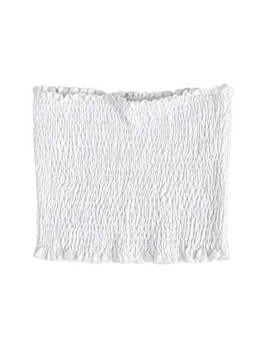 Floerns Women's Solid Sleeveless Frill Trim Shirred Bandeau Tube Crop Top White M