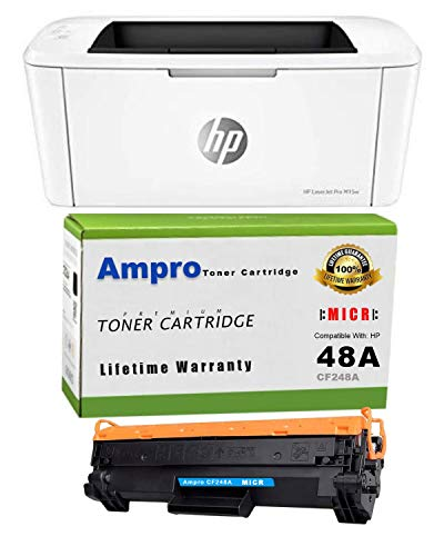 Ampro Laserjet M15w Check Printer MICR Check Printer Bundle with CF248A MICR / 48A MICR Compatible Toner Cartridge. (Prints 3,000 Checks)