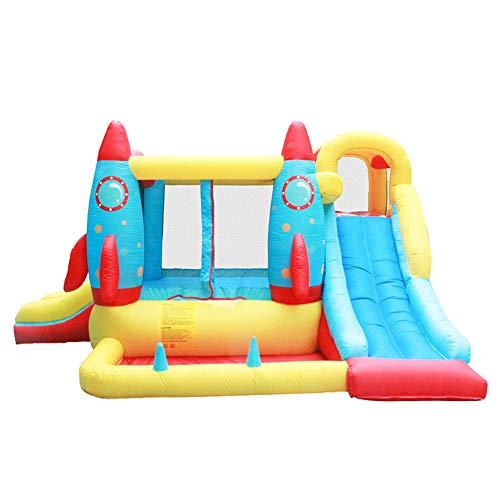 MDZZ Außen Hüpfburg, Kinder aufblasbare Trampoline mit Gebläse und Rutsche, Großer Garten Bounce Bett, Spielplatz Jumper Spielzeug