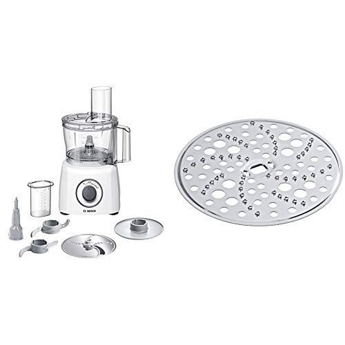 Bosch MCM3100W Kompakt-Küchenmaschine, 800 W, 2,3 L, SmartStorage, weiß / grau & MUZ45RS1 Reibscheibe