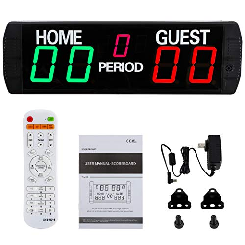 Spolehli Marcador LED de 5 dígitos electrónico multideporte para uso en interiores con mando a distancia, marcador digital para baloncesto, fútbol, voleibol, tenis de mesa (verde)
