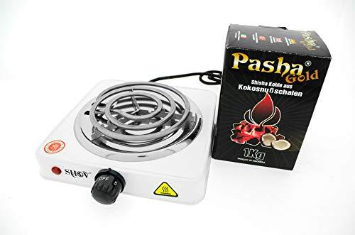 Toker Shisha Kohleanzünder für Shisha Kohle | inkl. 1 Kilo Pasha Shishakohle aus 100% Natürlichen Kokosnußschalen