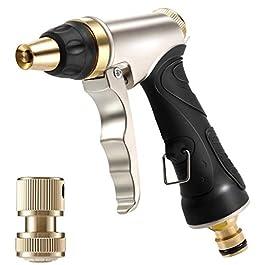 Pistolet d'Arrosage avec Buse en Laiton, Robuste et Haute Pression, Réglable de Jet à Pulvérisation, pour Laver la…