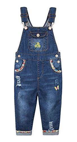 Kidscool Space Baby/&Little Boys Easy Diaper Changing Snap Legs Patched Ripped Denim Overalls
