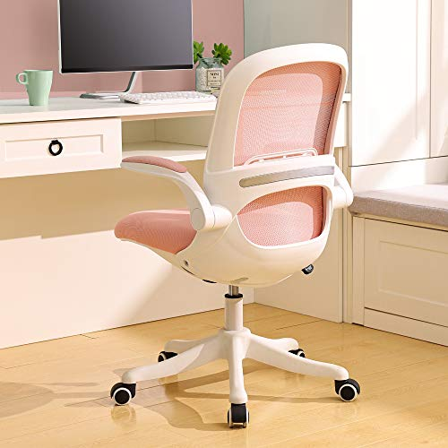 BERLMAN Ergonomic Mid Back Mesh Office Chair with Flip-up Arms and Adjustable Height Desk Chair Anchor Chair Student Chair (White&Pink)