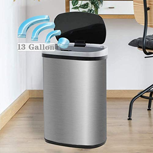 Kitchen Trash Can 13 Gallon Garbage Can,Sensor Trash Can Touchless Stainless Steel Trash Can,Brushed Dustbin 50 Liter Motion Trash Bin Metal Waste Bin with Lid for Home Bathroom Office Restroom,Silver