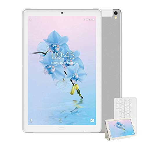Tablet 10 Pulgadas YESTEL X2, 3GB+32GB, Android 8.1,4G WiFi/Dobles SIM, Tableta con Tastiera, 4 Core, 8000mAh, 1280X800 HD IPS, FM,Plata