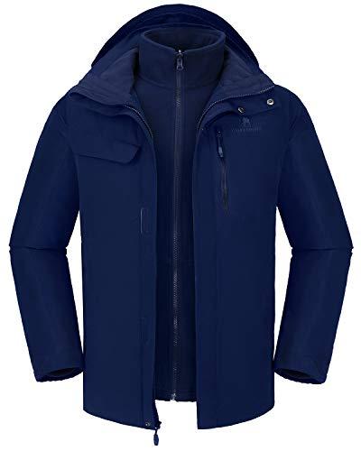 CAMELSPORTS Men's Mountain Ski Jacket 3 in 1 Waterproof Winter Jacket Warm Snow Jacket Hooded Rain Coat Windproof Winter Coat (Dark Blue-1, XXL)