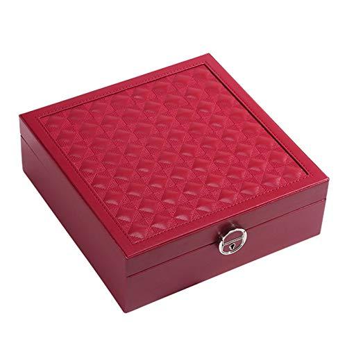Caja de joyería de joyería de joyería de viajes para mujer caja de almacenamiento de joyería de gran capacidad con espejo grande estuche cosmético separable con caja de joyería pequeña portátil