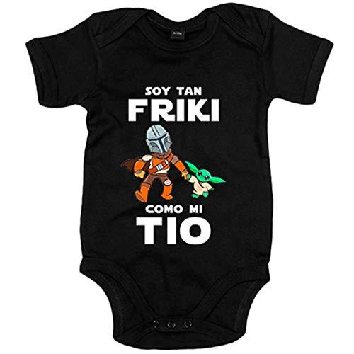 Body bebé soy tan friki como mi tio parodia baby yoda - Negro, 6-12 meses