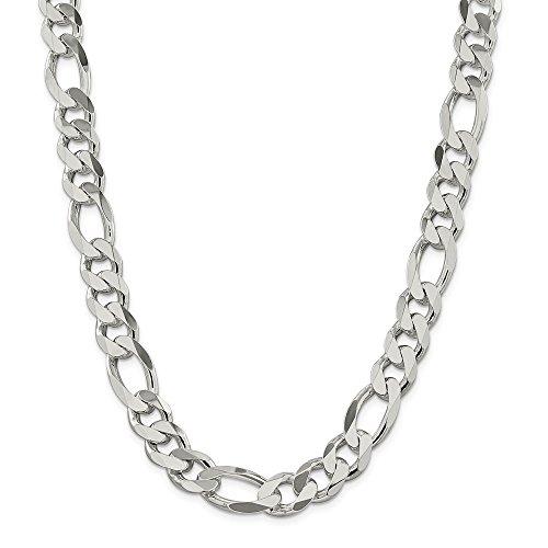 Collar de cadena Figaro de plata de ley 925 de 12,75 mm para hombres y mujeres