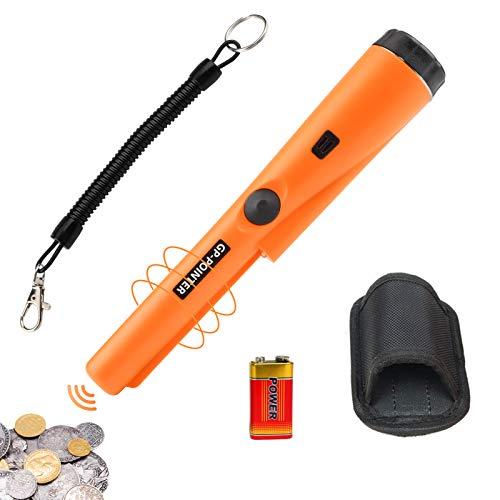 Metalldetektor Pinpointer, Tragbar 360 °Suche Treasure Pinpointing Finder Probe mit 9V Batterie und Holster, wasserdichter Metalldetektor für die Schatzsuche,Metalldetektionszubehör für Erwachsene