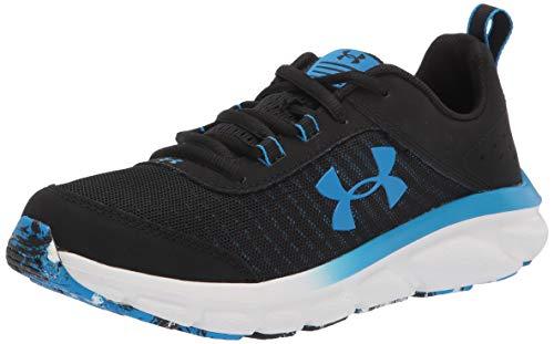 Under Armour Grade School Assert 8 Running Shoe, Black (008)/White, 7 US Unisex Big Kid