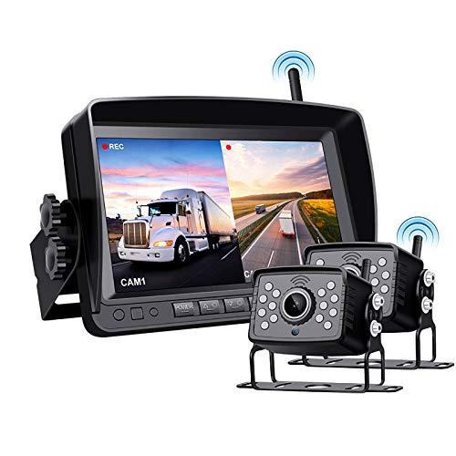 BaiTTang Sistema de Asistencia de estacionamiento inalámbrico Digital, Grabador DVR con Monitor de 7', cámara de Respaldo de visión Nocturna Impermeable IP68, Ideal para automóviles de 65 pies