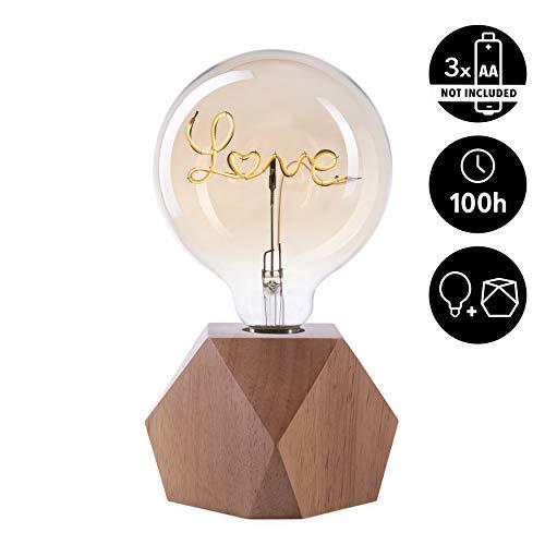 CROWN LED Tischlampe Vintage Batteriebetrieben - Design Tischleuchte aus Holz E27 Fassung inkl. Retro Edison LED Glühbirne EL27