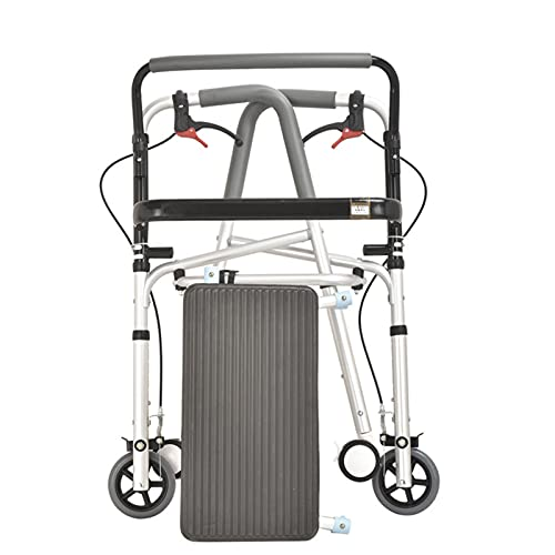 Aleación de Aluminio Cuatro Rondas Andador para Adulto Andadores para Ancianos con Freno y Asiento Doblada Ayuda a Caminar, Intercambio Fijo/Interactivo (Size : A)