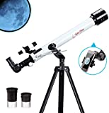 Telescopio Moutec para niños 70 mm Apeture Travel Scope 400 mm AZ Mount - con Alcance para trípodes y buscadores