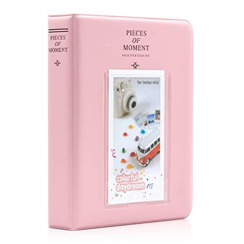 Amimy 64 Tasche Album Fotografico per Fujifilm Instax Mini 7s 8 8+ 9 25 50s 70 90, Polaroid Snap PIC-300, Kodak Mini 3-inch Film con Adesivi Colorati (64 Tasche, Rosa)