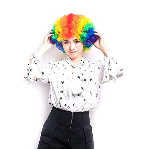 Xiaojie Colorido payaso explotando la cabeza rizada del ventilador del pelo Cosplay vacaciones Navidad peluca headgear