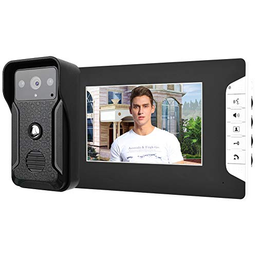 Timbre de Video, Timbre de Video Portero con Cable con Monitor LCD TFT de 7 Pulgadas, cámara de visión Nocturna por Infrarrojos Kit de videoportero con interfono Manos Libres.(UE)