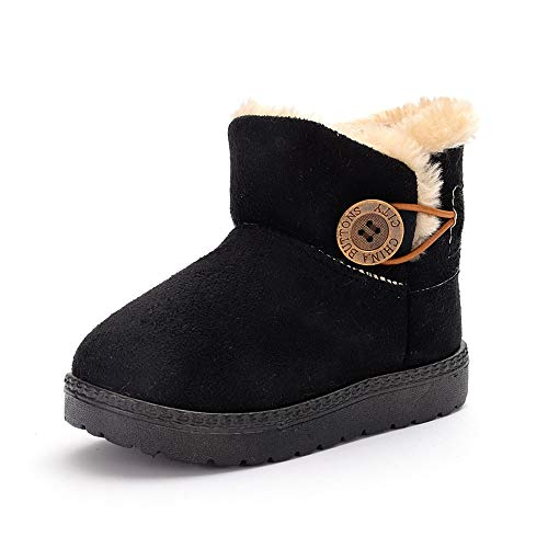 E-FAK Baby Toddler Girls Boys Boots Warm Winter Snow Booties Bailey Button Flat Outdoor Shoes(Toddler/Little Kid)(5 Toddler, C/Black)