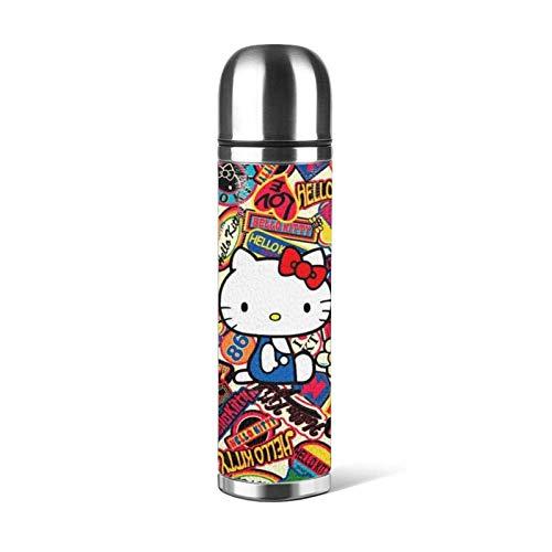 AEMAPE Hello Kitty Taza de vacío Taza de Agua de Acero Inoxidable aislada Botella de Agua con Aislamiento al vacío Café Deportivo Taza de Viaje Taza Termo Cubierta de Cuero Capacidad 17OZ 500ML ^ A1