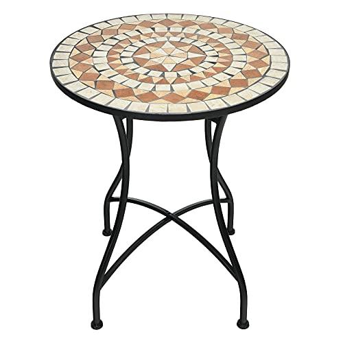 GIANTEX Tavolo da caffè in stile musaiano, rotondo, con mosaico, tavolo da balcone, da giardino, in ferro, da caffè, in metallo, stile vintage, per soggiorno, giardino, terrazza