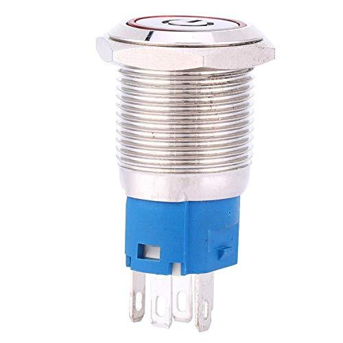 Interruptor de Metal - Botón pulsador de Metal con reinicio automático Anillo de Interruptor de Fuente de luz LED roja de 16 mm con símbolo de Encendido(220V)