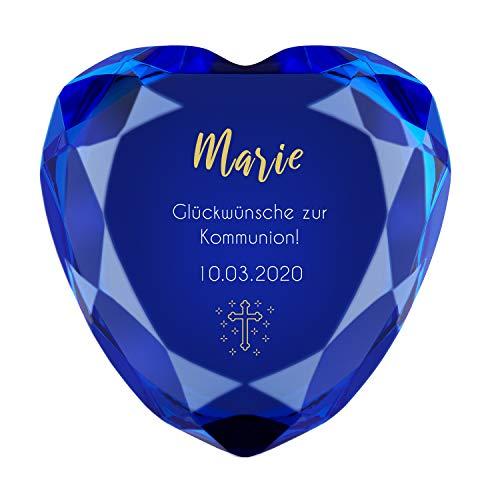Herz Diamant zur Kommunion (blau) mit Name und Datum - personalisiertes Konfirmationsgeschenk, Kommunionsgeschenk, Geschenk für Mädchen + Jungs