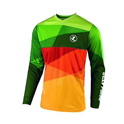 Uglyfrog Cycling Downhill Jersey for Men Long Sleeve Tops Lightweight Breathable Quick Dry Summer Warm MTB Mountain Bicycle Bike Racing T-Shirt