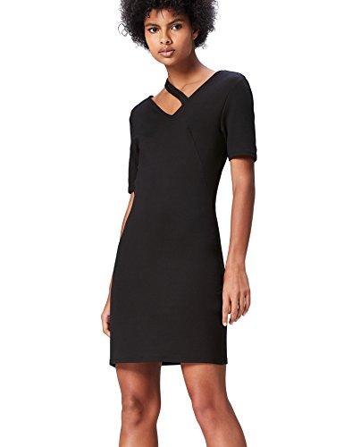 Amazon-Marke: find. Damen Kleid mit Cutout und halblangen Ärmeln, Schwarz, 36, Label: S