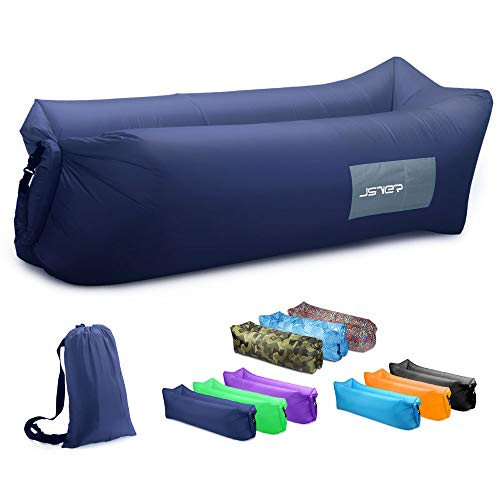 JSVER Sofa Hinchable del Aire del Ocioso de Playa,Tumbona Hinchable sofá Inflable Cama con el Paquete Portable para Viajar, Acampar, Senderismo, Piscina y Partidos de la Playa -Azul