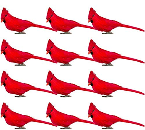 Fbaby 12 PCS Red Cardinals Ornaments Artificial Birds Christmas Cardinal Birds Clip for Christmas Tree Ornament Decorations, Arts and Crafts, Clip-On Style